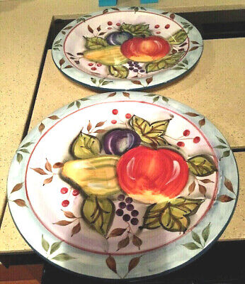 "Heritage Mint BLACK FOREST FRUITS Pattern 10 1/2"" Dinner Plates Set of 2"