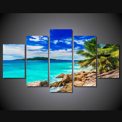 Blue Ocean Sea Beach Seascape Rocks Island Canvas Prints Painting Wall Art 5PCS