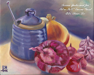 Still-life Original oil painting - Onions, Garlic & Jar (1) - 2000-Now