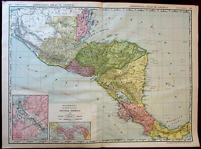 Central America Panama Canal zone c.1913 huge Rand McNally detailed map