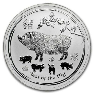 2019 Silver 1 oz  Australian Silver Lunar Pig Series 2 Year of the Pig ~ Perfect