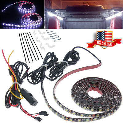2x Pure White Truck Cargo Bed LED Light Strip Kit for Chevy Silverado Waterproof