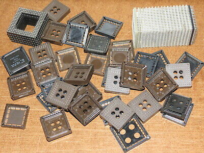 Lot of 60 IC chip sockets- PLCC/CLCC 68-pin, PGA 168-pin and 144-pin