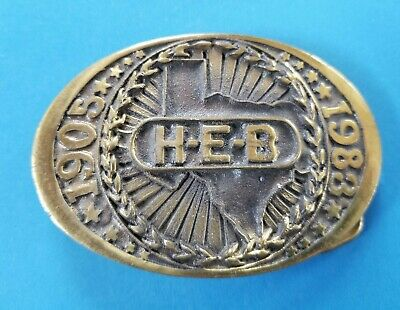 "Vintage 1983 ""HEB"" Howard E. Butt 1905 - 1983 Belt Buckle #00-241 Brass Texas"