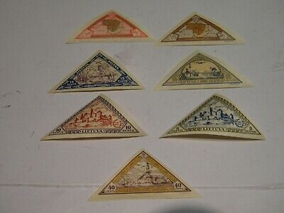Lithuania: 7 MH OG Triangle Stamps