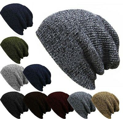 Men Casual Knit Baggy Beanie Winter Warm Hat Ski Slouchy Chic Knitted Skull Cap