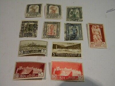 Italian Colony Libia: A Mixed Lot Of 11 Used & MH Stamps