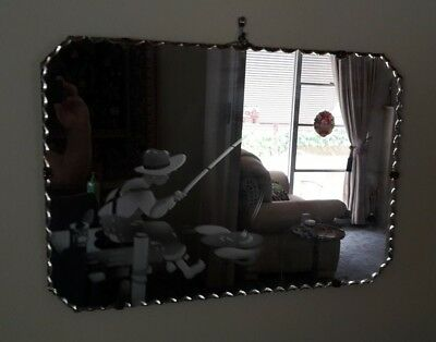 genuine Art deco mirror, acid etched pattern Boy fishing from jetty