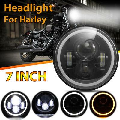 "7"" Round 75W CREE LED Halo Angel Eyes Motorcycles Driving Headlights For Harley"