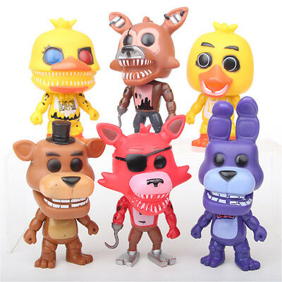 6 PCS Five Nights At Freddy's Chica Bonnie FNAF Action Figure Cake Topper Toy US