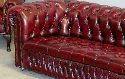 Antiques  Vintage Leather Office Dining Chesterfield  3 Seater Sofa Lounge  UK