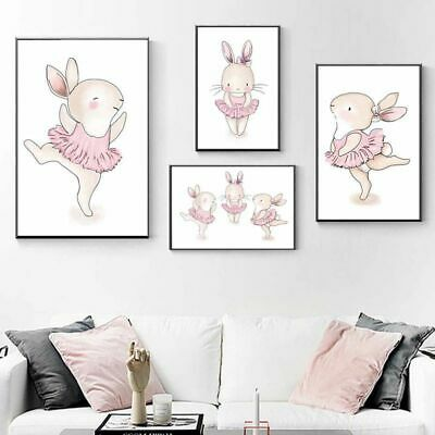 Cartoon Bunny Canvas Painting Print Rabbit Wall Poster Picture Art Animal Decor