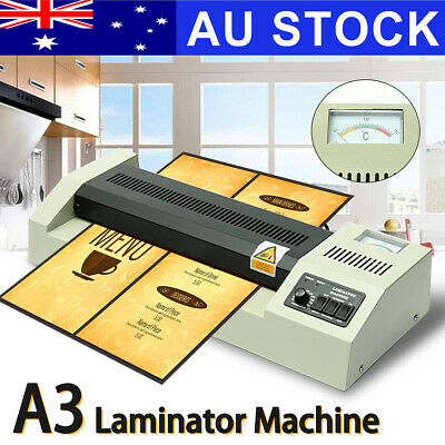 AU A3 Laminating Laminator Plastic Cold Hot Mounted Thermal Roller Pouch Machine