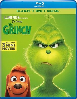 """Dr. Seuss' """"THE GRINCH"""" [Blu-ray + DVD + Digital] NEW factory sealed w Slipcover"""