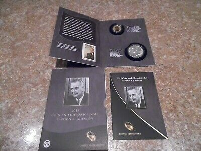 2015 Lyndon B Johnson Coins and Chronicle Set w Reverse Proof Johnson Dollar AX4