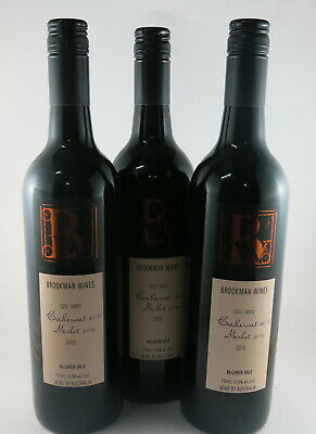 3 x brookman wines cool sands mclaren vale Cab Merlot 2010 RRP $30 Each