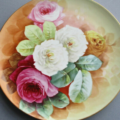 """Antique HP Porcelain 11"""" ROUND Plaque PINK White Yellow ROSES * Limoges VIENNA"""