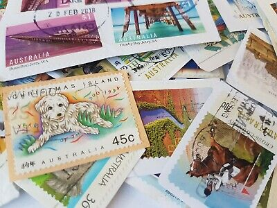 100 bulk used stamps Australian incl $1 & High value Fast n free post