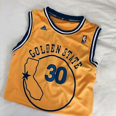 sports shoes 382b4 a7fc1 STEPHEN CURRY GOLDEN State Warriors NBA Hardwood Classics Jersey Adidas 48  Large