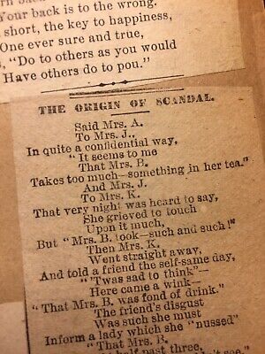 VICTORIAN ERA NEWS Poetry Short Story Text Loose Scrapbook Page 1880