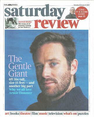 UK Times Review February 2019: ARMIE HAMMER COVER & FEATURE Martin Sherman