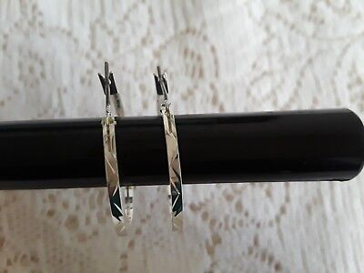 "Sterling Silver Hoop Latch Pierced Earrings 1 1/8"" Chevron Cut Pattern Nice"