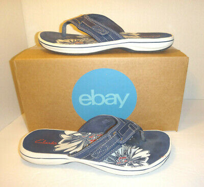 209dd13af7e CLARKS COLLECTION  BRINKLEY Jazz  Flip Flops - Blue - Women s Size 8 ...