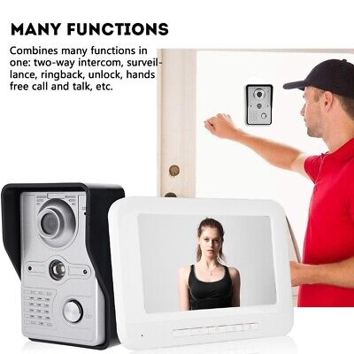 16: 9 Display Video Door Entry System 7 Inch Wired Doorbell Intercome Home Kit