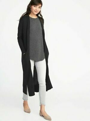 OLD NAVY SUPER Long Open Front Cardigan Sweater,Black XS,NWT