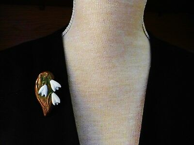 Handmade copper resin white green snowdrops brooch artisan flower pin gift