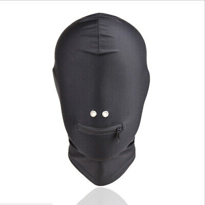 Full Head Restraint Blindfold Mask Sklaven Spiel Harness Zipper Mouth Open Hood