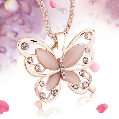 Women Rose Gold Opal Butterfly Charm Pendant Long Chain Necklace Fashion Jewelry