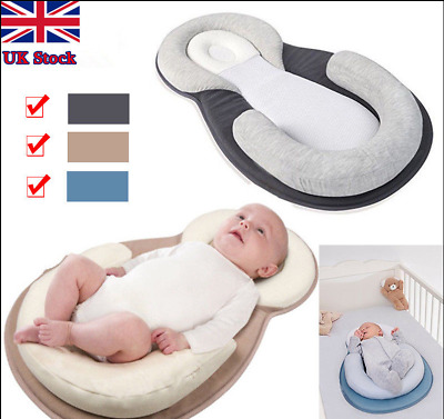 UK-Infant Newborn Baby Pillow Cushion Prevent Flat Head Sleep Nest Pod Anti Roll