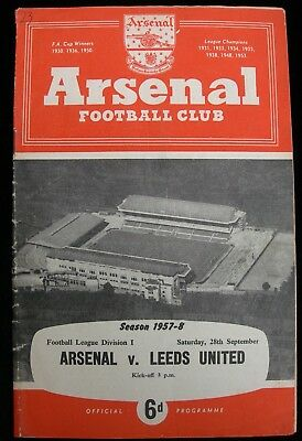 ARSENAL v LEEDS UNITED  FOOTBALL LEAGUE DIVISION 1  1957-8 September 28th. 1957