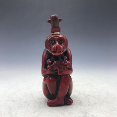China's exquisite craft ornaments coral snuff bottle monkey statue A1
