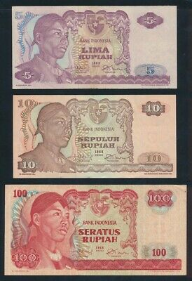 """Indonesia: 1968 5, 10 & 100 Rupiah """"CHOICE SET OF 3"""". Pick 104a, 105a & 108a EF+"""