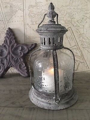 Antique French Style Lantern Glass Vintage Finish Candle Holder Table Decor