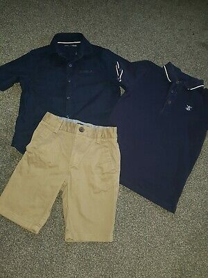 Boys Next Bundle Chino Shorts Linen Shirt And Polo Top 6-7 Years Worn Once