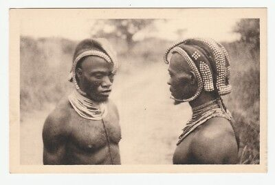 Africa, Belgian Congo belge, Bapende tribe, men with futuristic headdress, c.`10