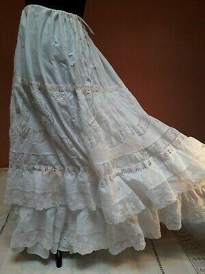 Antique Lace Petticoat Skirt Victorian White Cotton Edwardian Vintage Wedding Fr