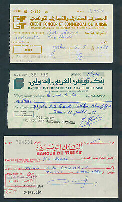 """Tunisia: 1978-81 """"COLLECTION OF 3 DIFFERENT CHEQUES"""". In French & Arabic"""