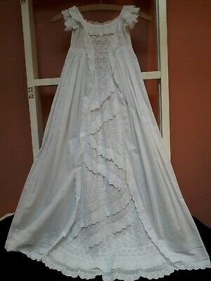 Antique Christening Gown Embroidery Flounces Edwardian Victorian Whitework