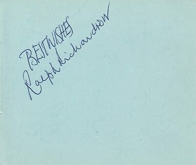 English Actor Ralph Richardson Hand Signed Autograph Book Page