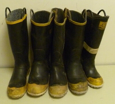Lot of 5 Single Possible Pairs? Rubber Firefighter Turnout Boots Size 10 & 11