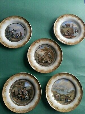 Prattware five decorative plates with a variety of scenes