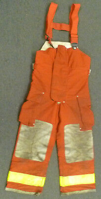 30x28 Globe Red Pants With Suspenders Firefighter Turnout Bunker Fire Gear P978