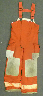 32x30 Globe Red Pants With Suspenders Firefighter Turnout Bunker Fire Gear P977