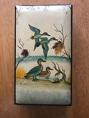 Vintage Hand Painted Rectangle Wooden Box with ducks and fowl trees