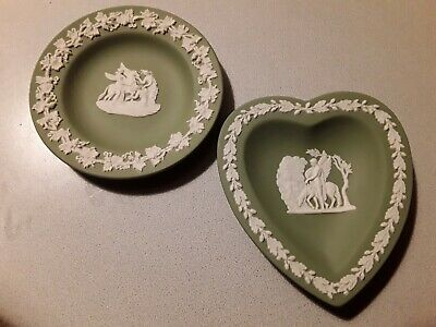 2 Wedgwood Green Jasperware Small Dishes  Marked Vintage