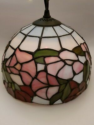 Tiffany Style Ceiling Light Shade Pendant Floral Design With Hanging Chain